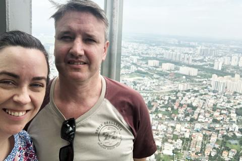 SRW PhD scholar Anthony Cowley and his partner (Julianne Cowley – Australian Consul-General in Ho Chi Minh City, Vietnam) inspect the view over the city.